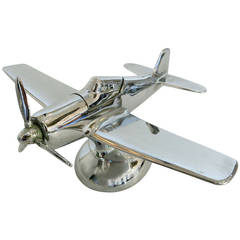 Midcentury Chrome P-51A Mustang Airplane Table Lighter