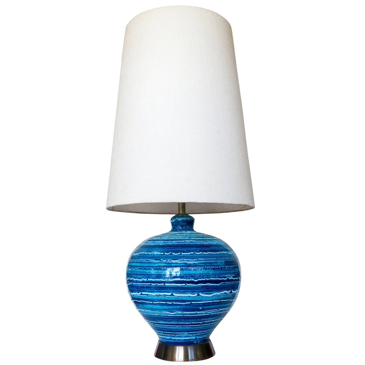 Mid-Century Variegated Blue Striped Glaze Ceramic Lamp