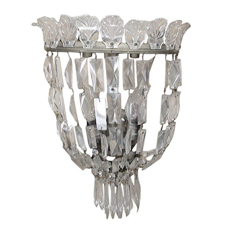 French Crystal Wall Sconces : French Bronze and Crystal Wall Sconce at 1stdibs