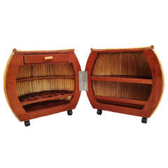 Restored Large 1940s Rattan and Mahogany Pumpkin Bar