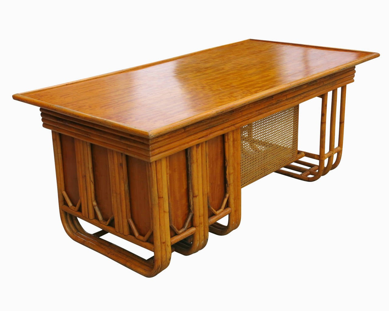 French Restored Large Jean Royère Style Streamline Rattan Executive Desk For Sale