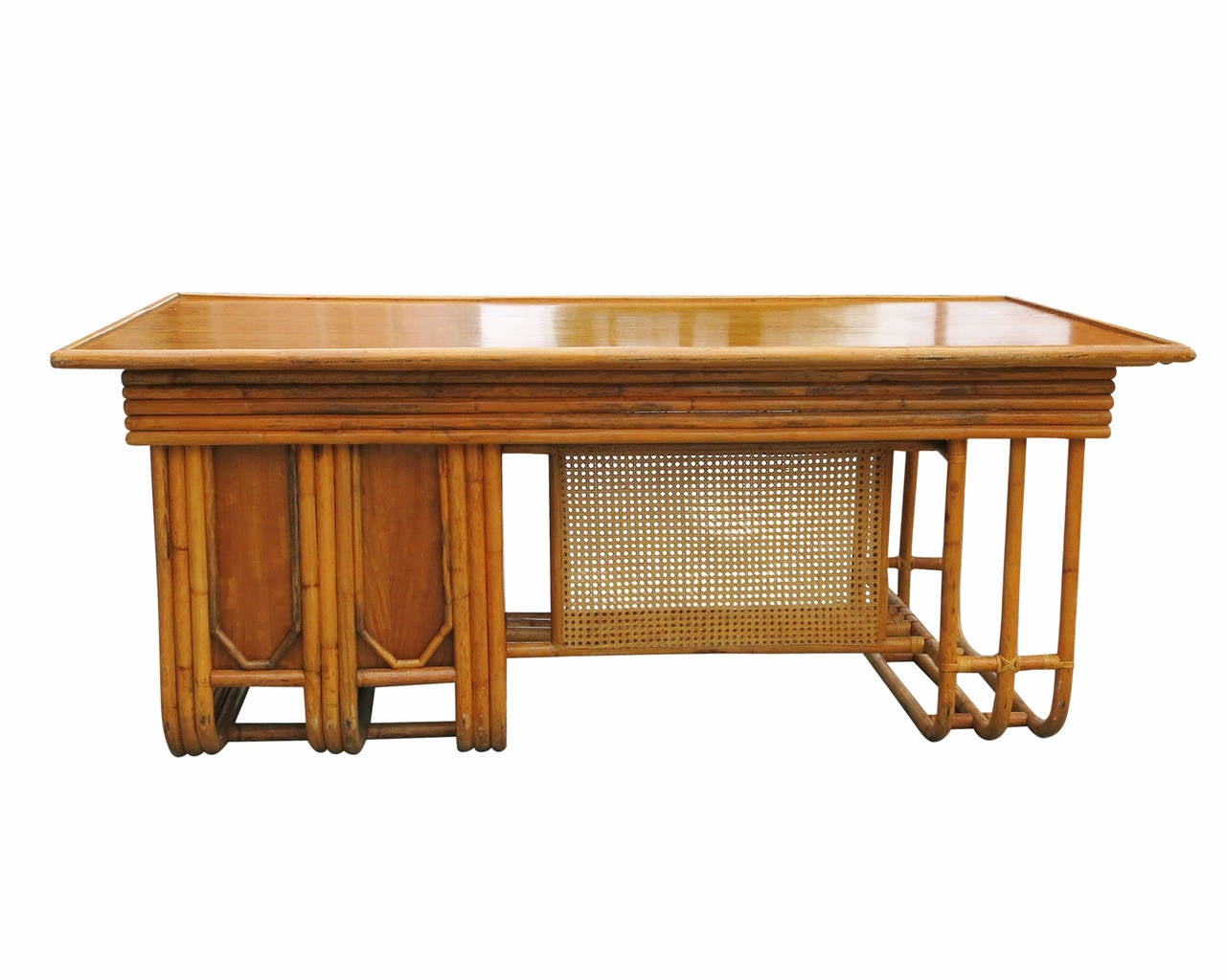 Mid-20th Century Restored Large Jean Royère Style Streamline Rattan Executive Desk For Sale