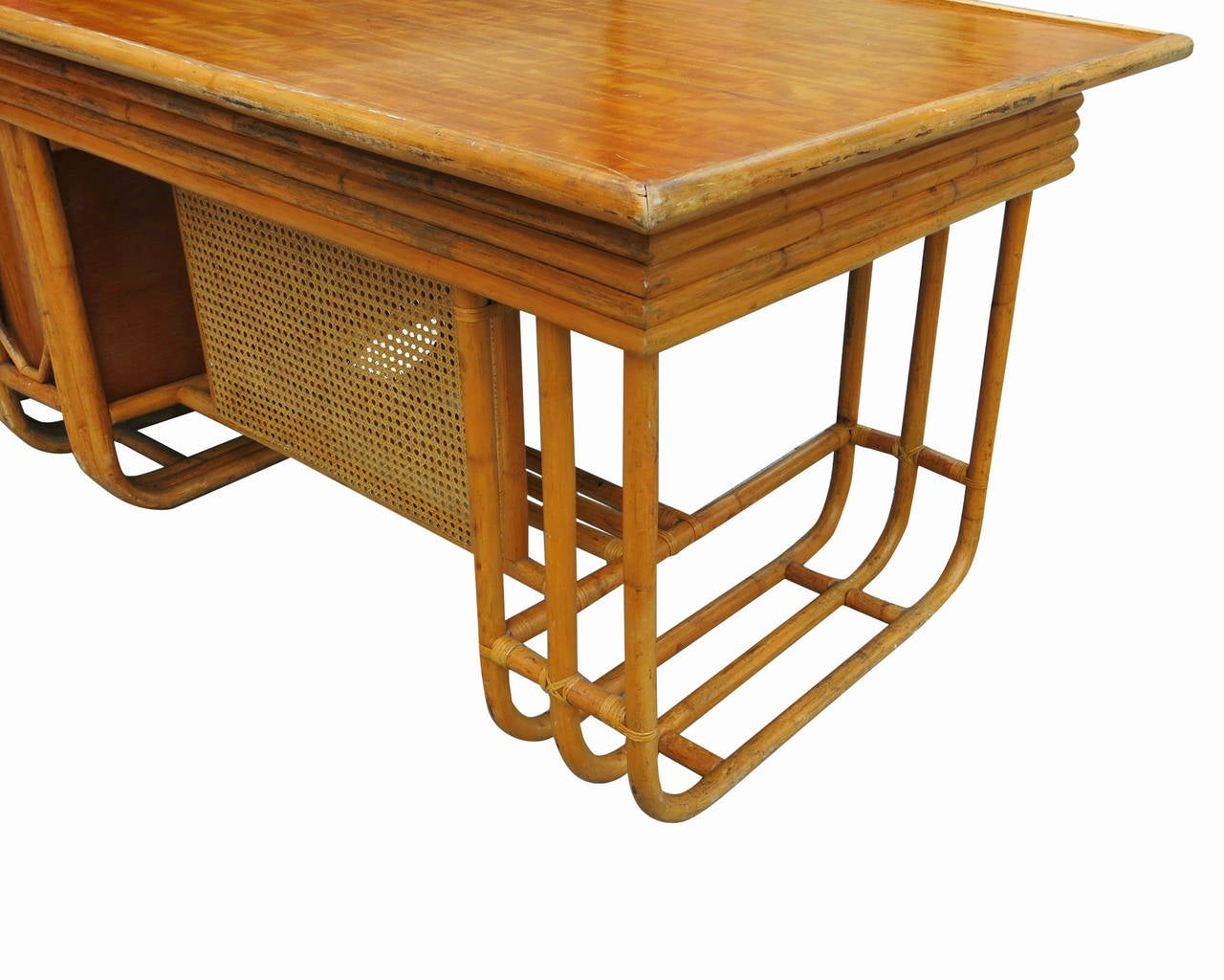 Mahogany Restored Large Jean Royère Style Streamline Rattan Executive Desk For Sale