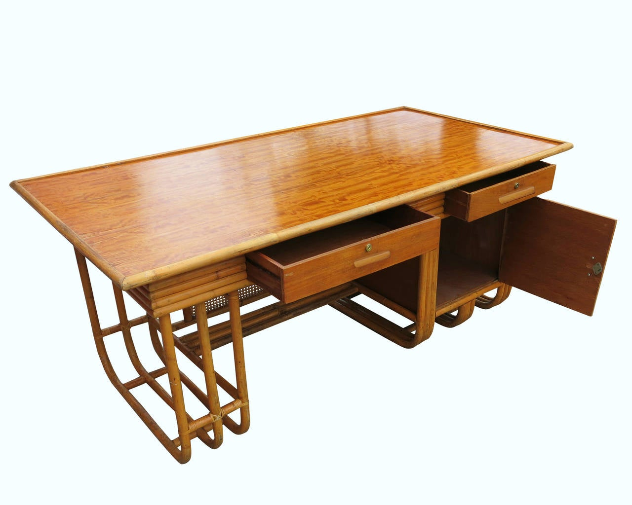 Streamlined Moderne Restored Large Jean Royère Style Streamline Rattan Executive Desk For Sale