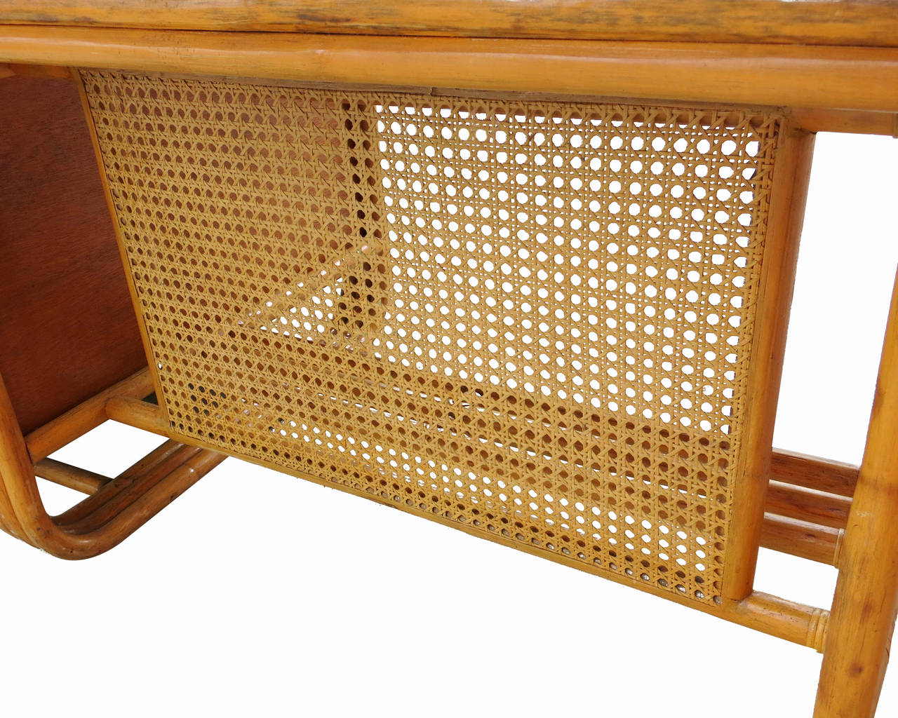 Restored Large Jean Royère Style Streamline Rattan Executive Desk For Sale 1