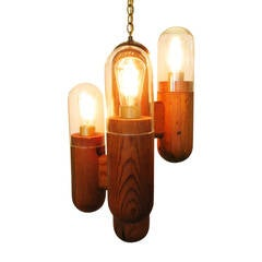 Post Modern Wood Cactus Chandelier
