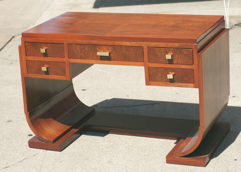 french streamline art deco writing desk vanity in the style of
