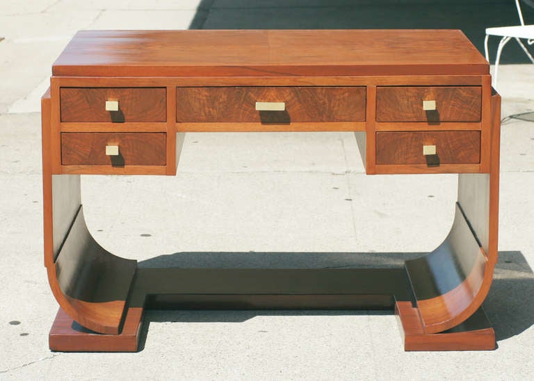 French Made Art Deco Writing Desk With Rounded Streamline Sides And Geometric Bronze Pulls Reminiscent