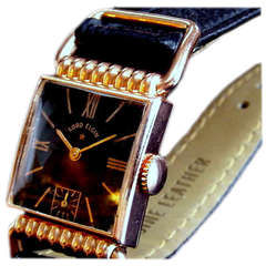 Lord Elgin 14-Karat Gold Drivers Swing Lug Wristwatch