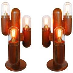 Postmodern Wood Cactus Lamps, Pair ** Saturday Sale **