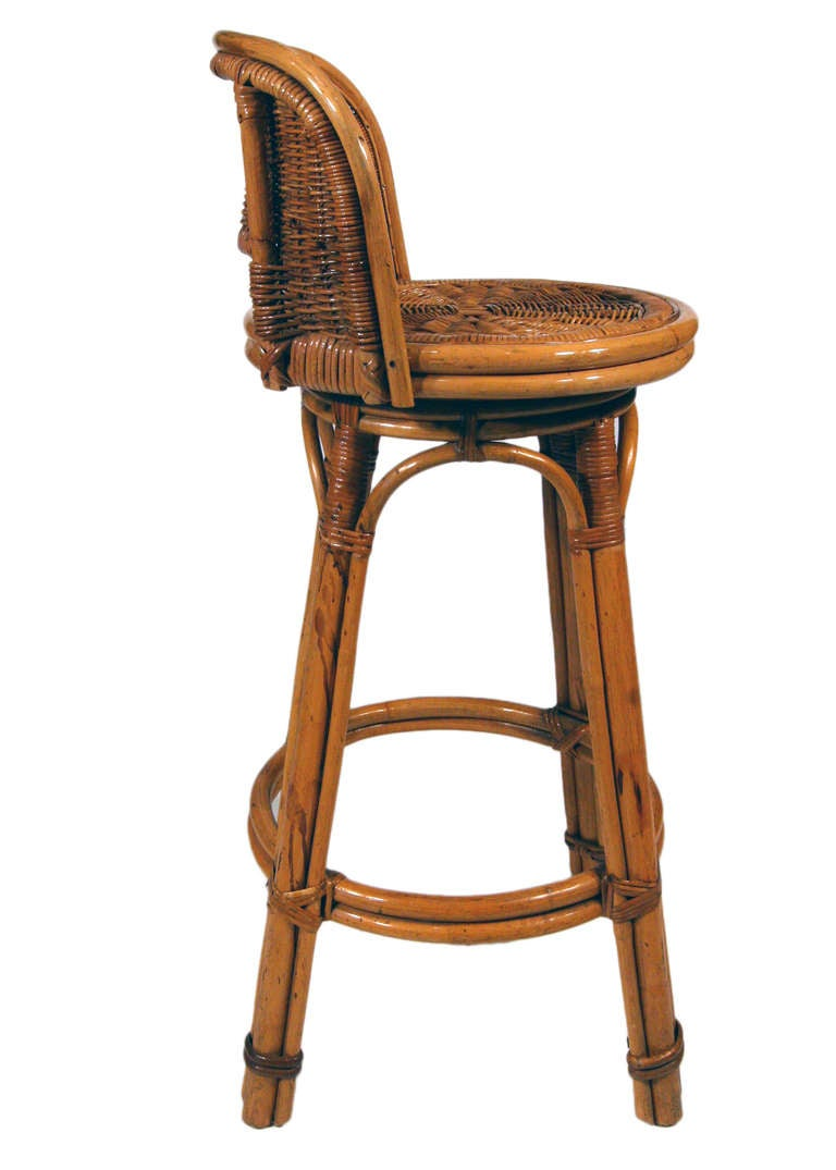 Rattan Bar Stool Pair with Woven Wicker Seats at 1stdibs : 20k001353l from 1stdibs.com size 768 x 1075 jpeg 54kB