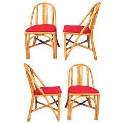 Restored Slat Leg Rattan Dining Chair, Set of Four