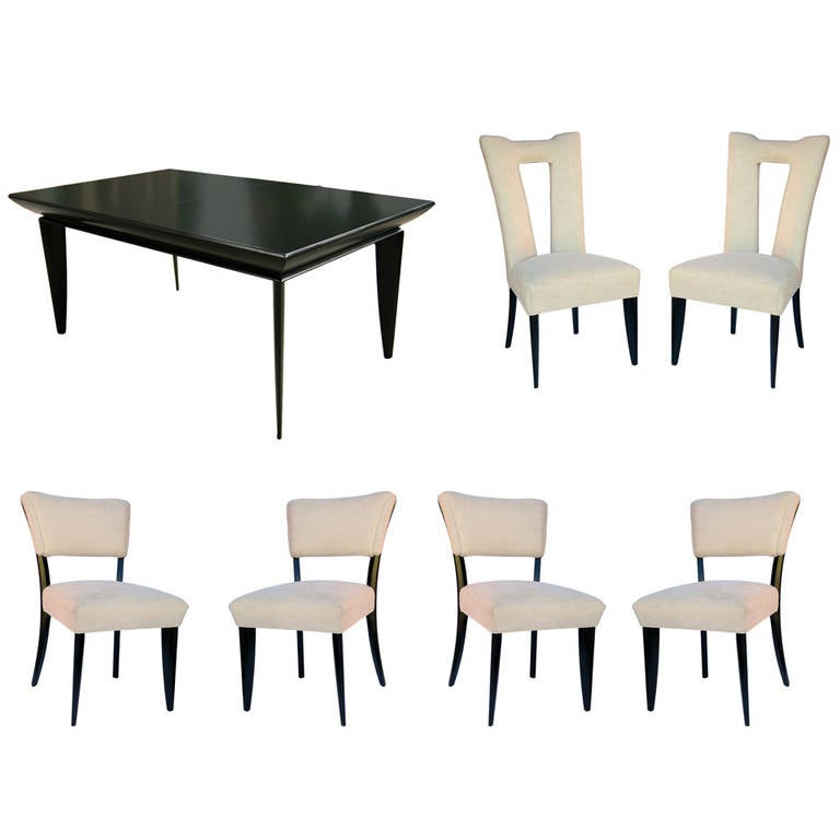 Paul Laszlo Black Lacquer Dining Set For Brown Saltman At