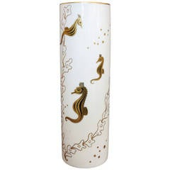 Lenox Bone China Vase w/ 24K Gold Leaf Seahorses
