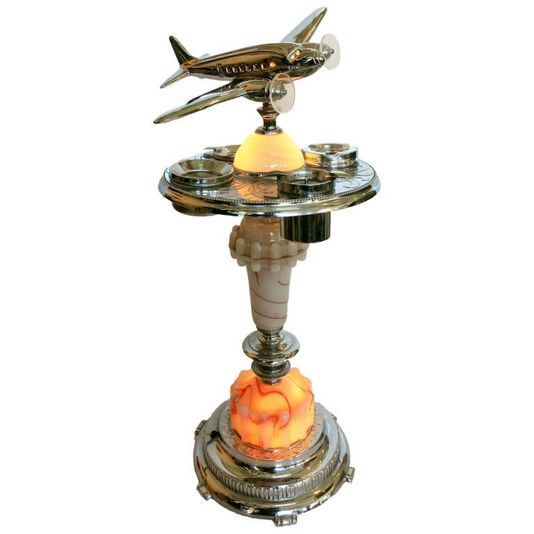 Chrome Art Deco Ashtray Stand With Light Up Airplane At