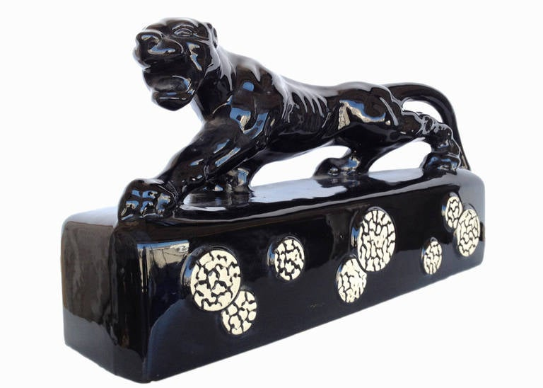 Black Ceramic Quot Sportsman Panther Quot Tv Lamp By Kron 1955 At