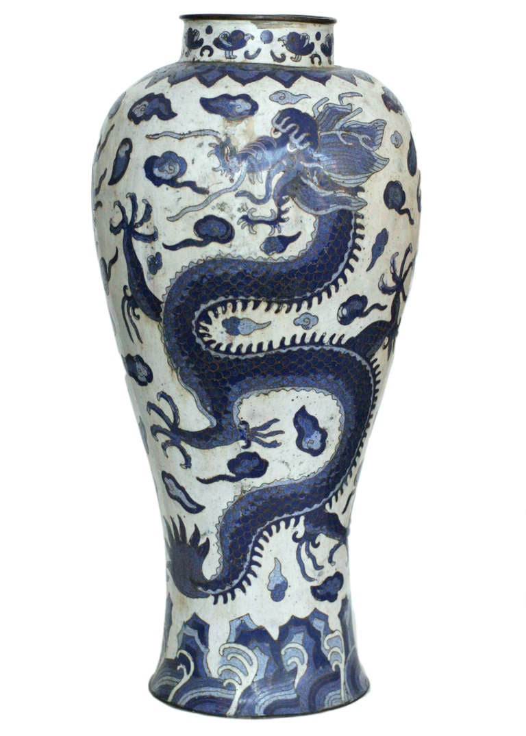 Blue dragon chinese cloisonne vase at 1stdibs antique spun brass chinese cloisonne blue dragon vase depicting a 500 years old female scholar dragon reviewsmspy