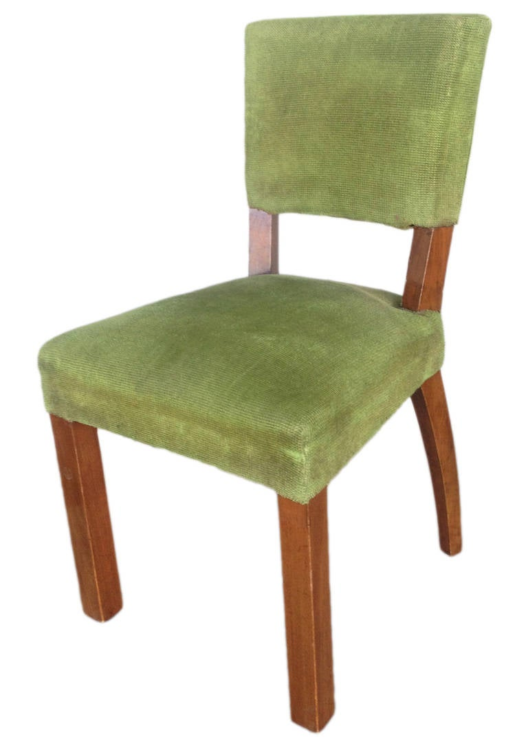 French Art Deco Walnut Dining Chair, Set of Four In Good Condition For Sale In Van Nuys, CA