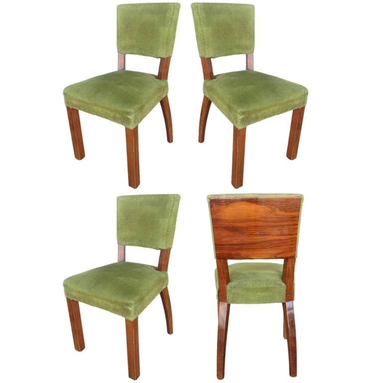 French Art Deco Walnut Dining Chair, Set of Four