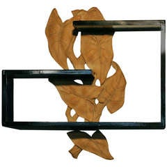 Mid-Century Wall Shelf with Hand-Carved Leaf Pattern