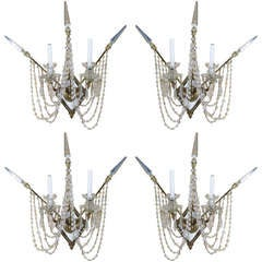 Set of Four Bronze and Bead Crystal Presidential Wall Sconce