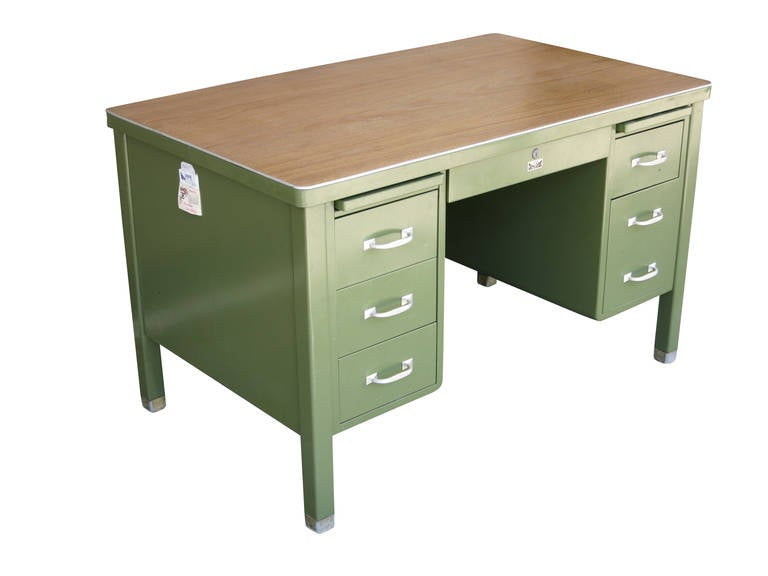 Complete Tanker Desk Set Featuring A Forest Green Enameled Steel Executive Size By The