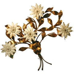 Italian Tole Gold Leaf Floral Wall Sconce