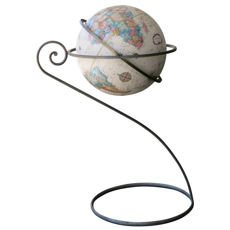 Replogle World Globe on Scrolling Steel Stand at 1stdibs