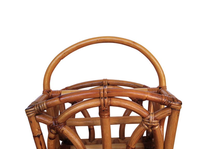 Restored Molded Rattan Magazine Rack In Excellent Condition For Sale In Van Nuys, CA
