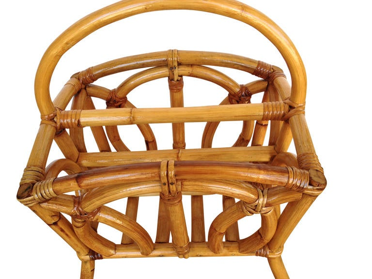 American Restored Molded Rattan Magazine Rack For Sale