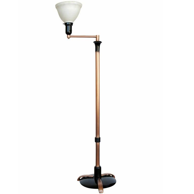 French Art Moderne Copper Swing Arm Floor Lamp