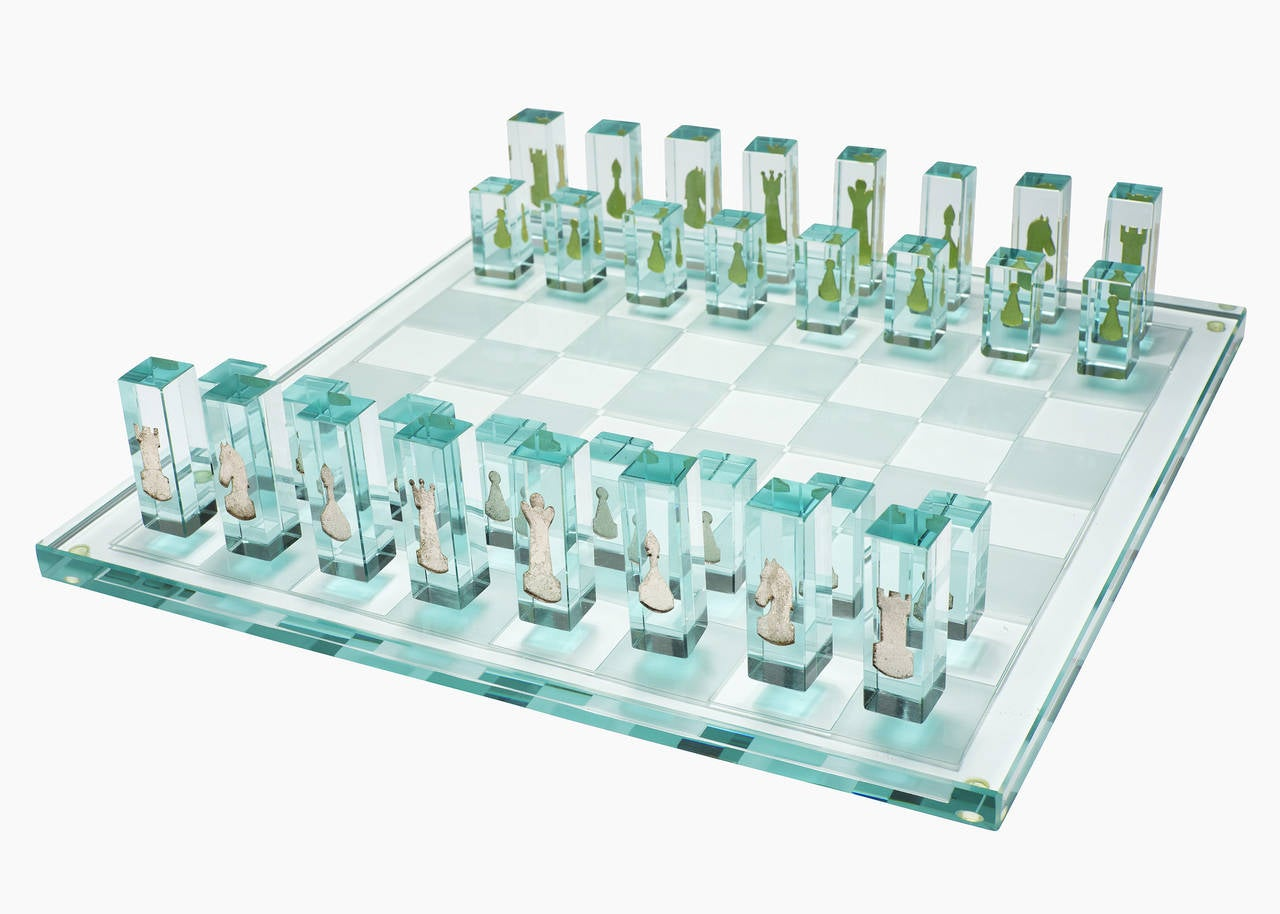 Kiln Formed Art Glass Chess Set With 24k Gold Game Pieces