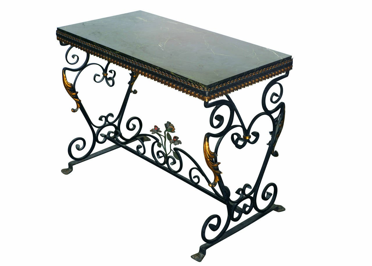 Italian wrought iron console table with st laurent marble top at italian wrought iron console table with st laurent marble top 3 geotapseo Choice Image