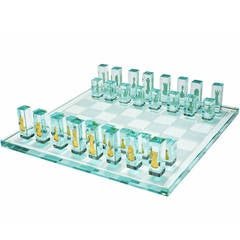 Kiln-Formed Art Glass Chess Set with 24 Karat Gold Game Pieces