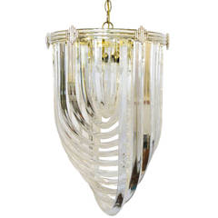 Sculptural Lucite Ribbon Chandelier