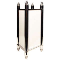 Chrome Art Deco Box Table Lamp or Chandelier