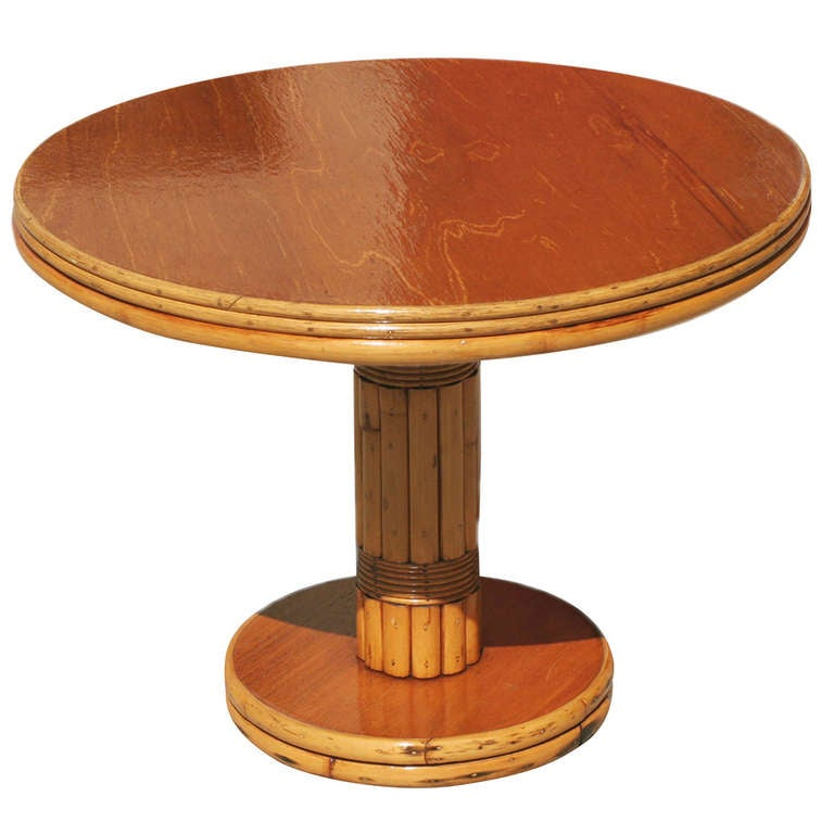 Rattan Side Table With Round Mahogany Top At 1stdibs