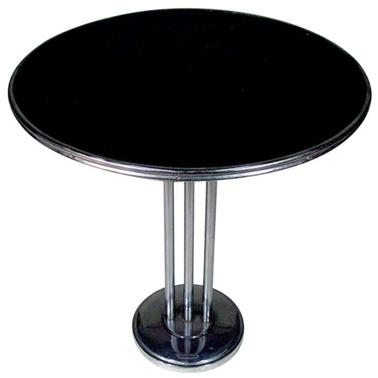Chrome Streamlined Side Table with Tubular Legs