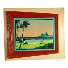 1950's Tropical Surf Silk Screen Print Signed