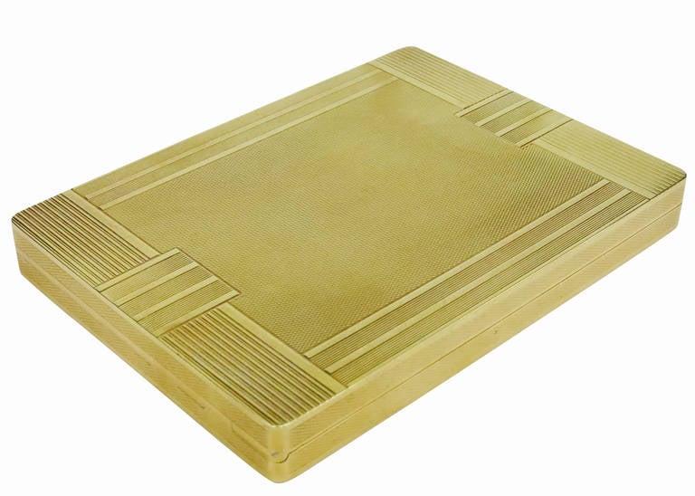 American 18-Carat Gold Art Deco Cigarette Case For Sale