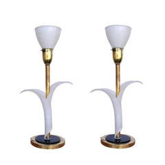 Pair of Sculptural Acrylic Table Lamps by Rembrandt   ** Saturday Sale **