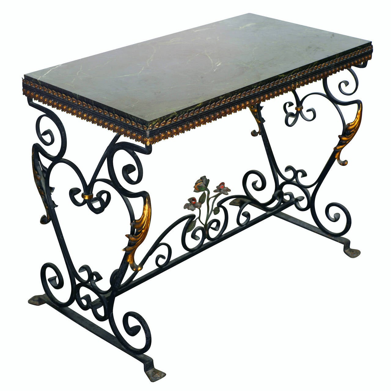 Stone top wrought iron antique console table late 19thearly 20th italian wrought iron console table with st laurent marble top geotapseo Gallery