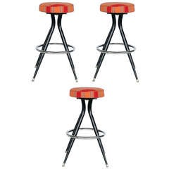 Black Steel Swivel Bar Stools, Set of Three