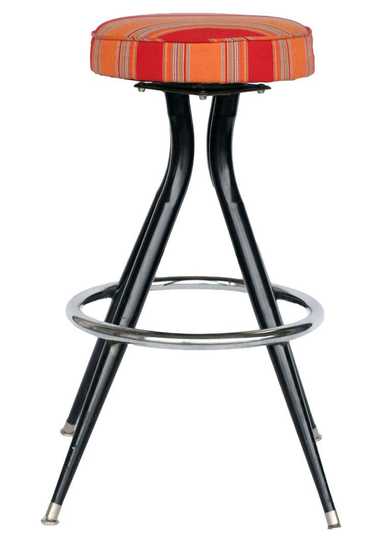 Black Steel Swivel Bar Stools Set Of Three For Sale At