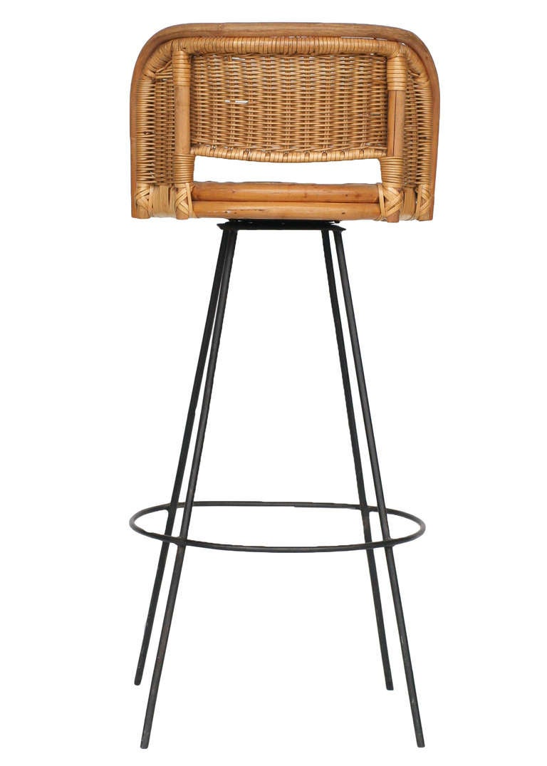 Wicker Bar Stools ~ Seng of chicago swivel wicker and iron bar stools at stdibs