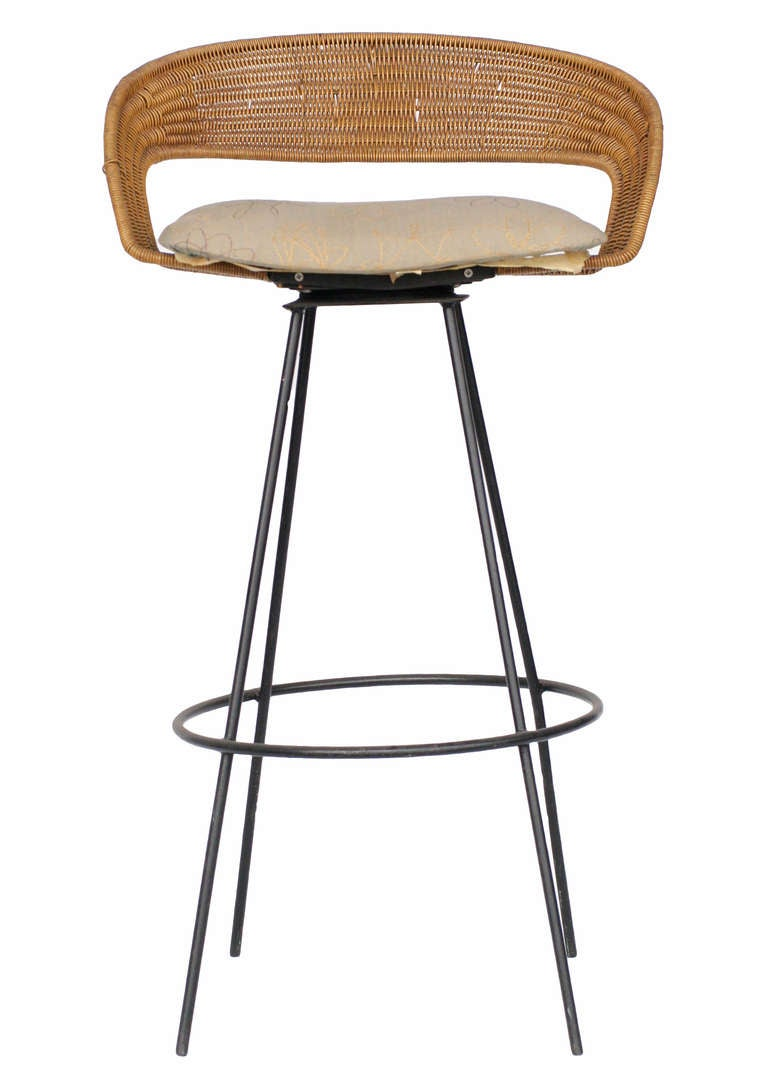 Wicker And Iron Barstools By Arthur Umanoff Set Of Six At