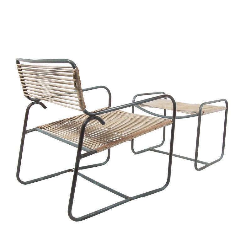 Rare Extra Wide Outdoor Patio Armchair And Ottoman By