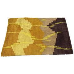 Scandinavian Abstract Shag Rug , circa 1970