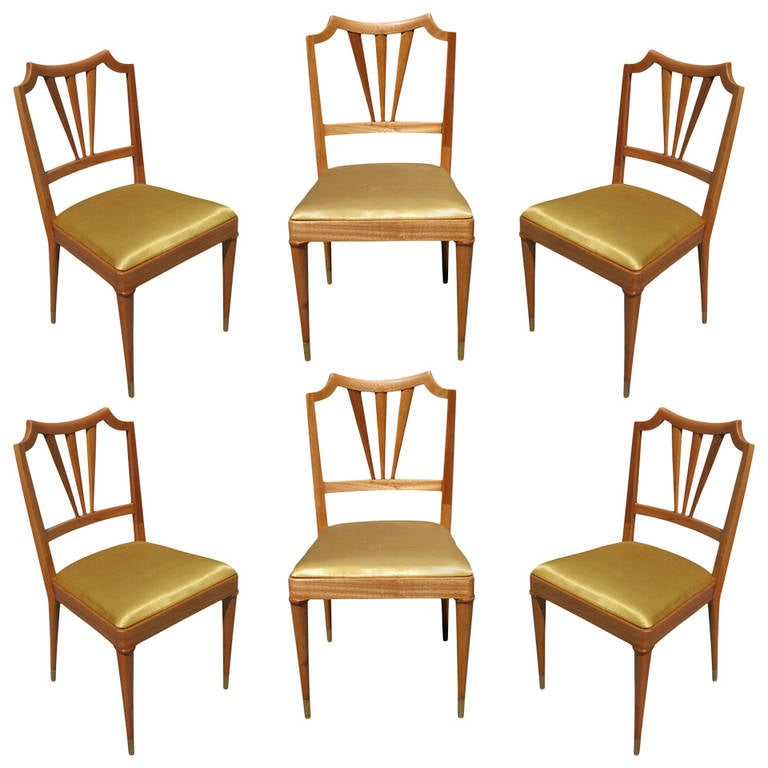Formal Mid-Century Dining Chair Set of Six