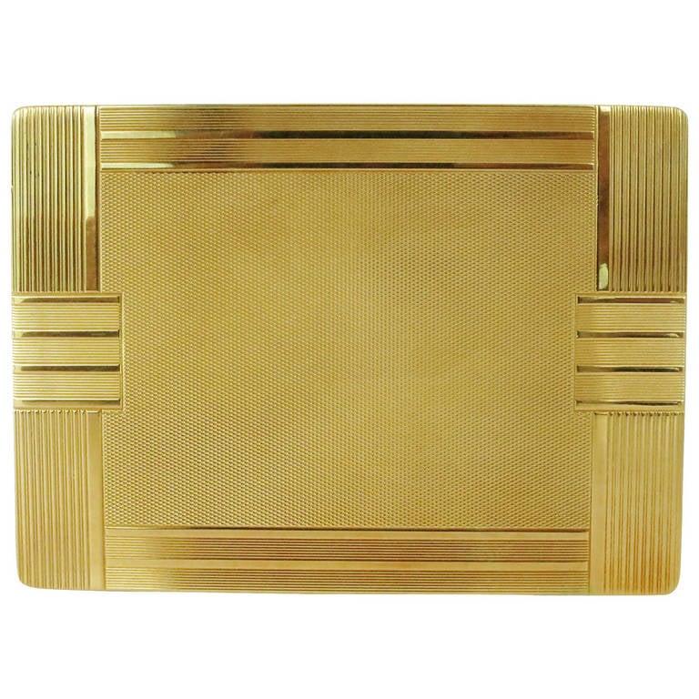 18-Carat Gold Art Deco Cigarette Case For Sale